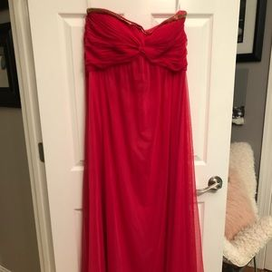 Red/coral strapless long formal